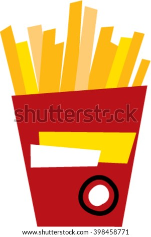 potato fries in red box color