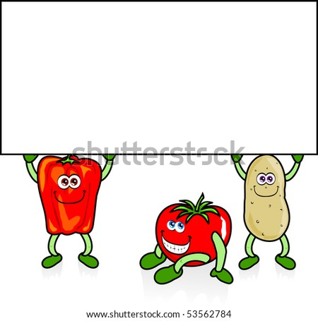 Potato, tomato and pepper with white sign, vector
