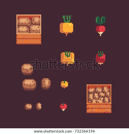potato, turnip and radish, wooden box, pixel art style vector isolated on brown color background