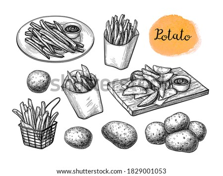 Potato wedges and French fries. Ink sketch isolated on white background. Hand drawn vector illustration. Retro style.