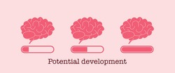 Potential development concept. Set of brain loading bar. Mind and knowledge boost. Progress of brain increase. Vector