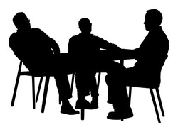 Potential worker in a job interview vector silhouette. Business people sitting and talking about new idea. IT partners meeting. Break relaxation after work in restaurant. Desk and chairs. Examination.