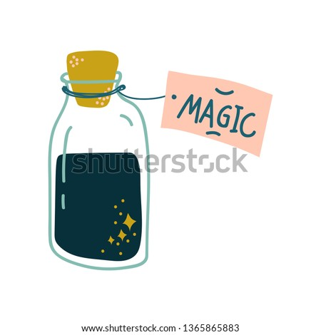 Potion Bottle, Glass Transparent Flask with Black Magic Liquid, Witchcraft Attribute Vector Illustration