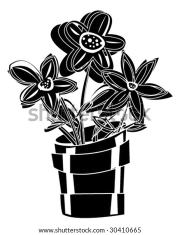 Potted Houseplant - Vector Illustration