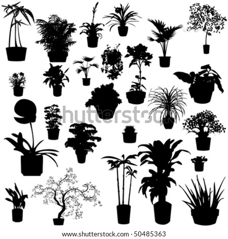 Potted plants silhouettes - stock vector