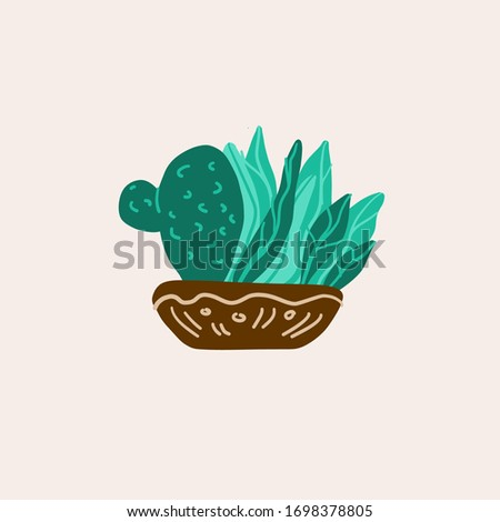 potted plants. succulents and house plants. hand drawn vector art. Set of house indoor plant vector cartoon doodle.