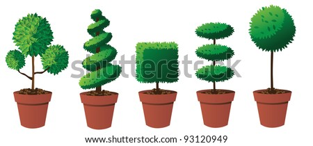 Potted Topiary Collection Part 2 EPS 8 vector, grouped for easy editing. No open shapes or paths.