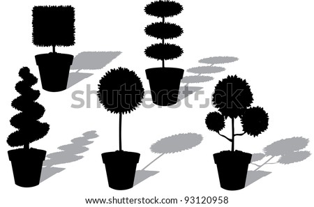 Potted Topiary Silhouette Collection Part 2 EPS 8 vector, grouped for easy editing. No open shapes or paths.
