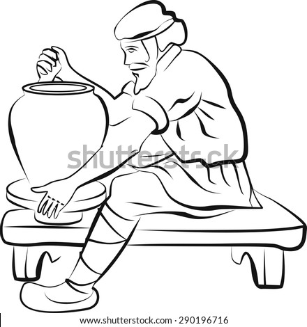 The potter and the clay coloring pages ~ Potter Stock Vector Illustration 290196716 : Shutterstock