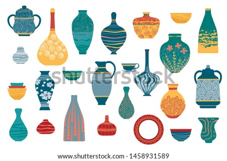 Pottery earthenware, vases, clay bowls and pots isolated on white.  Ceramic jugs and vases set. Decorative elements collection of vases for your interior design. Flat vector set
