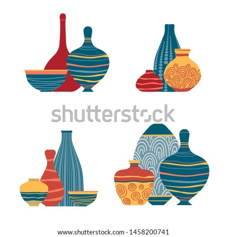 Pottery kitchenware, vases, clay bowls and pots isolated on white.  Ceramic jugs and vases. Decorative elements collection of vases for your interior design. Flat vector set