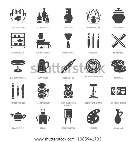 Pottery workshop, ceramics classes flat glyph icons. Clay studio signs. Hand building, sculpturing equipment - potter wheel, electric kiln, tools. Solid silhouette pixel perfect 64x64.
