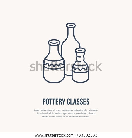 Shutterstock Pottery workshop, ceramics classes line icon. Clay studio tools sign. Hand building, sculpturing equipment shop sign. Illustration of ceramic vases.