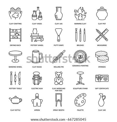 Pottery workshop, ceramics classes line icons. Clay studio tools signs. Hand building, sculpturing equipment - potter wheel, electric kiln.