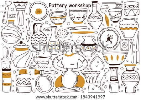 Pottery workshop doodle set. Collection of hand drawn sketches templates patterns of woman craftsman artist manking pot at special wheel. Creative occupation production handmade ceramics clay items. Foto stock ©