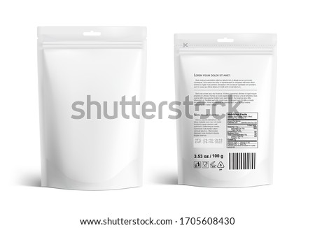 Pouch bags mockup isolated on white background. Vector illustration. Front and rear views. Can be use for template your design, presentation, promo, ad. EPS10. Сток-фото ©
