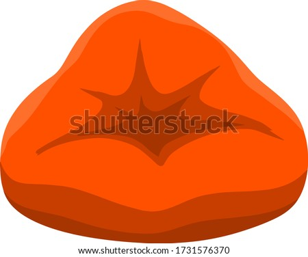 Pouf. Soft chair. Red bag for the seat. An element of modern interior and furniture. Cartoon flat illustration