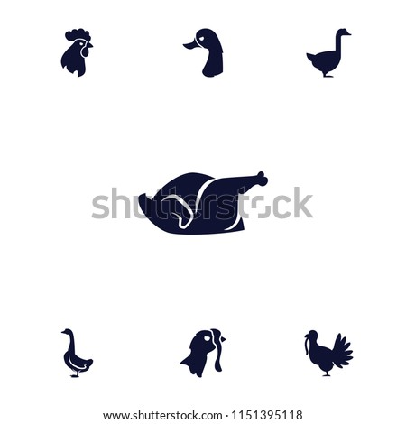 Poultry icon. collection of 7 poultry filled icons such as goose, chicken, turkey. editable poultry icons for web and mobile.