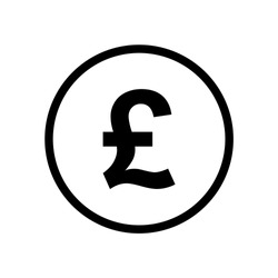 Pound coin monochrome black and white icon. Current currency symbol.