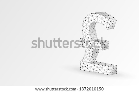 Pound currency sign, digital origami 3d illustration. Polygonal Vector British money symbol. Business, data cash, finance concept. Low poly wireframe, triangle, lines, dots, polygons. White background