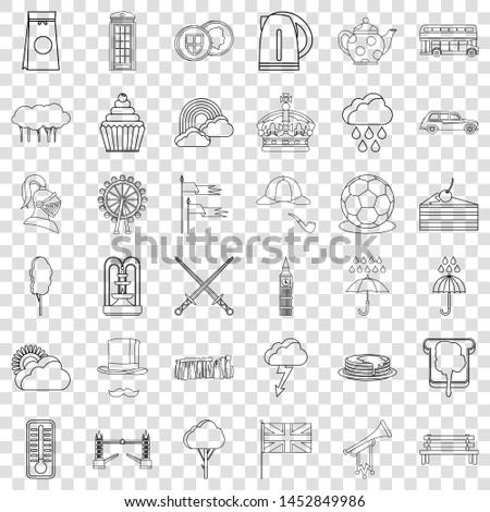 pound icons set outline style