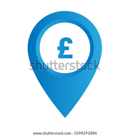 Pound Map Pointer icon. Vector illustration. pound map pointer symbol  Designed for for banks or exchange offices