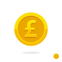 Pound sign. Coin icon. English currency pound. Vector money symbol. Bank payment symbol. Golden coin. Golden pound. Finance symbol. Currency symbol. Currency exchange. Pound money. Cash icon.
