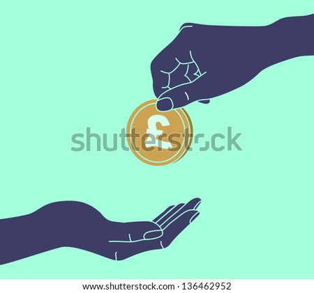 POUND STERLING. Hands Giving & Receiving Money