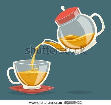 pour tea drink from glass...