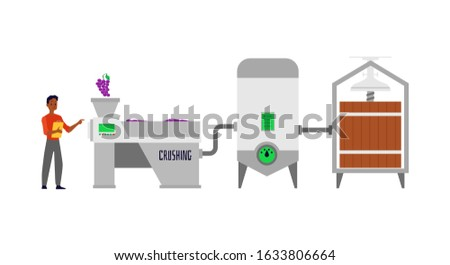 Pouring and producing wine - conveyor facilities and barrels, flat cartoon vector Illustration isolated on white background. Winery production plant or factory equipment.