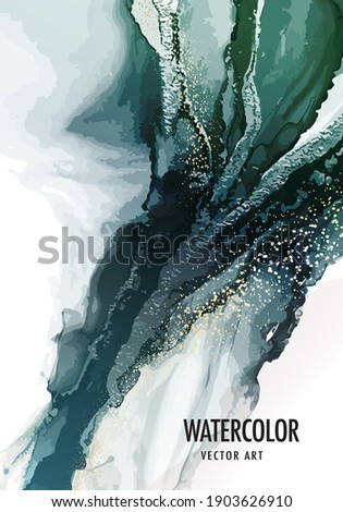 pouring art green marble background. Luxury emerald dusty gold invitation, vector texture, acrylic ink border frame, invitation cards, brochure , acrylic painting