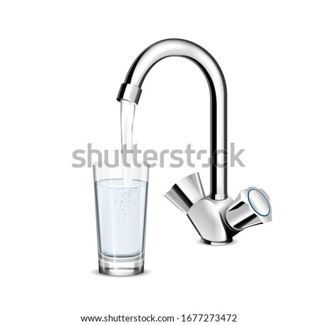 Pouring glass of water from stainless steel kitchen faucet on white background realistic vector illustration Photo stock ©