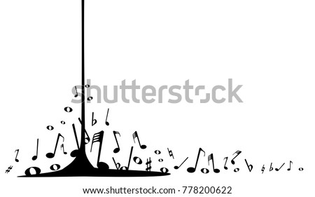 pouring musical notes spashing