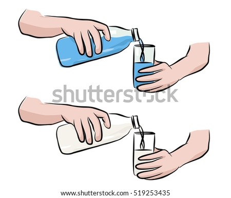 pouring water from bottle into
