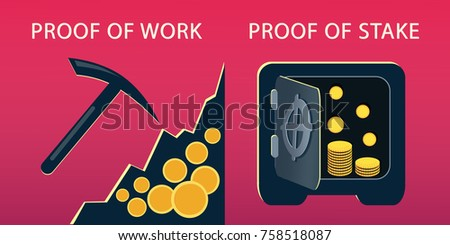 POW and POS concept. Proof of work and proof of stake vector illustration