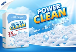 Powder laundry detergent advertising vector illustration. Washing powder carton box package label design template.