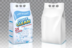 Powder laundry detergent packaging mockup set. Vector realistic illustration of washing powder bags isolated on transparent background.