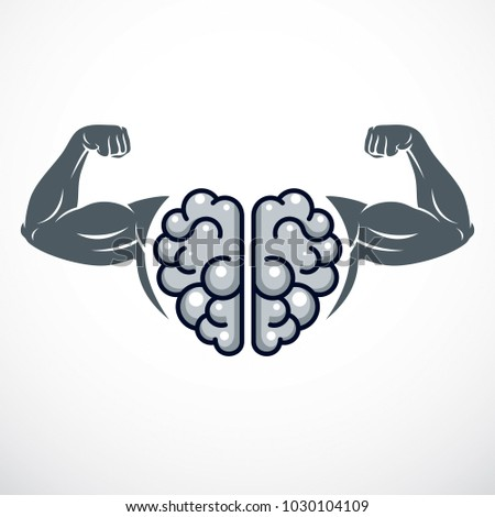 Power Brain emblem, genius concept. Vector design of human anatomical brain with strong bicep hands of bodybuilder. Brain training, grow IQ, mental health.