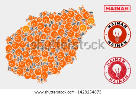 Power bulb mosaic Hainan map and grunge round stamp seals. Mosaic vector Hainan map is created with power bulb items. Templates for electric business. Orange and red colors used.