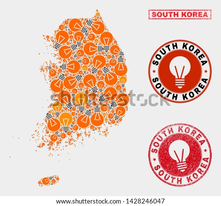 Power bulb mosaic South Korea map and rubber rounded watermarks. Mosaic vector South Korea map is created with electric bulb symbols. Abstract images for power supply services.