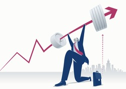 Power. Businessman pushing upwards a business chart looking like a heavy barbell. Concept business illustration