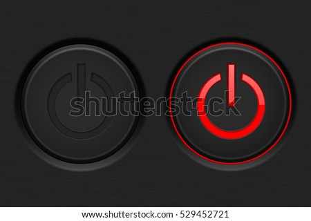 Power button. Black button with red backlight. Normal and active. Vector illustration