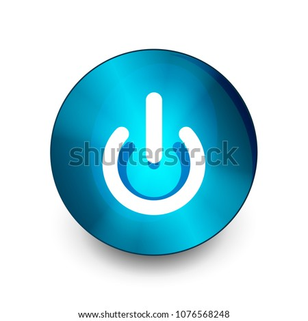 Power button blue icon, start symbol, vector illustration #1076568248