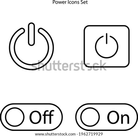 power button icon set isolated on white background from user interface collection. power button icon thin line outline linear power button symbol for logo, web, app, UI. power button icon simple sign.