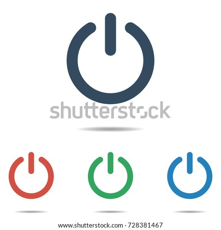 Power button icon set - simple flat design isolated on white background, vector
