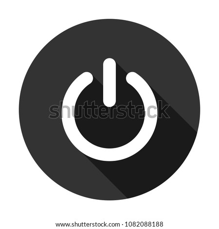 power button vector icon with shadow, switch on/off button sign Round icon with shadow