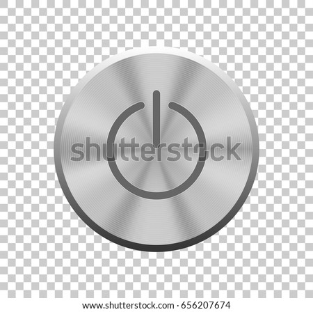 Power button. Vector illustration. Buttons for web. Vector metal silver power button