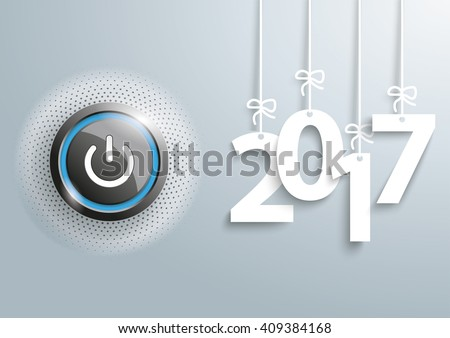 power button with hanging year