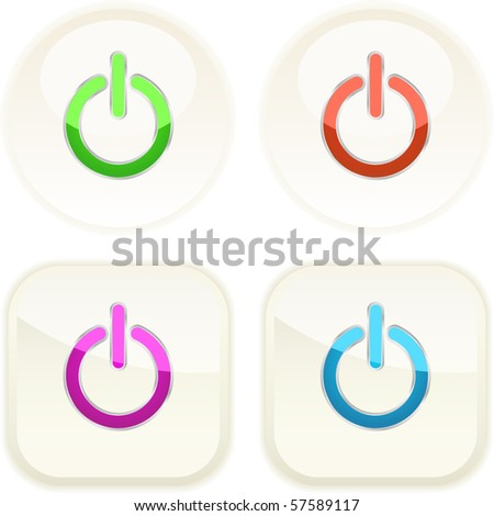 Power buttons for web. Vector illustration.