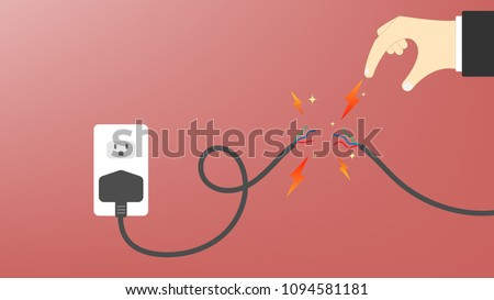 power cable damaged with hand's ...